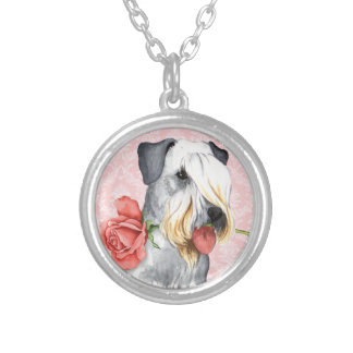 Valentine Rose Cesky Terrier Silver Plated Necklace