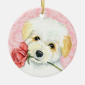 Valentine Rose Coton Christmas Ornament
