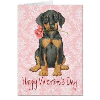 Valentine Rose Doberman Card