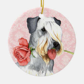 Valentine Rose Doberman Christmas Ornament