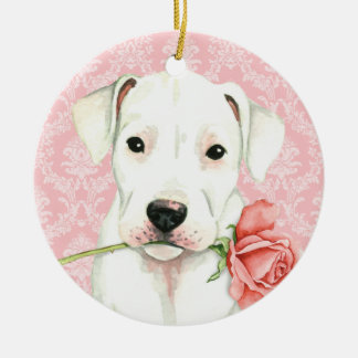 Valentine Rose Dogo Christmas Ornament