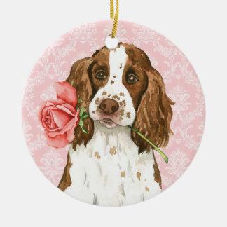 Valentine Rose English Springer Round Ceramic Decoration