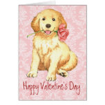 Valentine Rose Golden Retriever Card