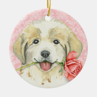 Valentine Rose Great Pyrenees Christmas Ornament