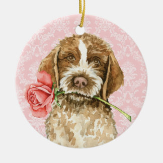 Valentine Rose Griffon Christmas Ornament