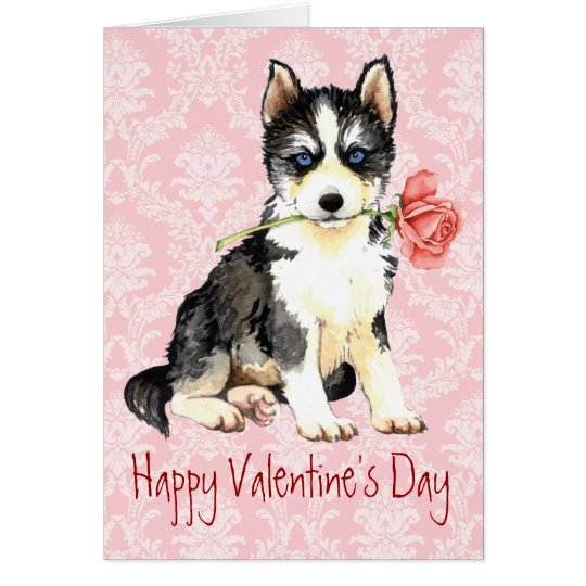 Valentine Rose Husky Card
