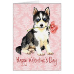 Valentine Rose Husky Greeting Cards