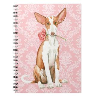 Valentine Rose Ibizan Hound Spiral Notebook