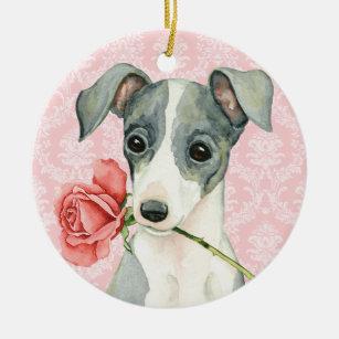 Valentine Rose Italian Greyhound Christmas Ornament