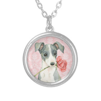 Valentine Rose Italian Greyhound Silver Plated Necklace
