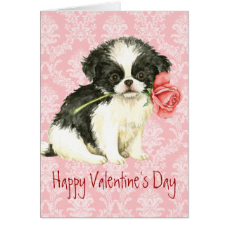 Valentine Rose Japanese Chin Card
