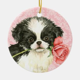 Valentine Rose Japanese Chin Round Ceramic Decoration