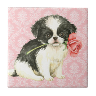 Valentine Rose Japanese Chin Small Square Tile