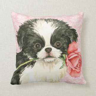 Valentine Rose Japanese Chin Throw Pillow
