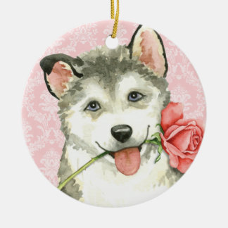 Valentine Rose Malemute Christmas Ornament