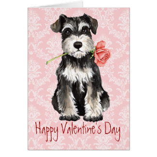 Valentine Rose Miniature Schnauzer Greeting Card
