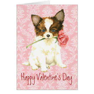 Valentine Rose Papillon Greeting Card