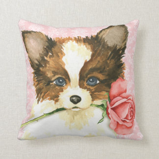Valentine Rose Papillon Throw Pillow