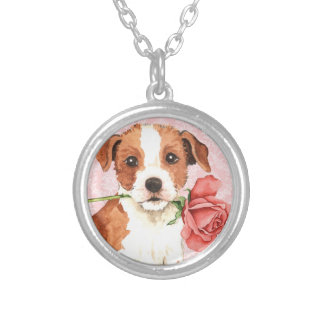 Valentine Rose Parson Russell Terrier Silver Plated Necklace
