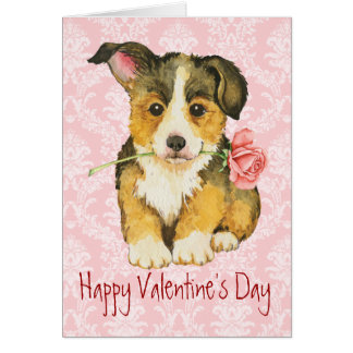 Valentine Rose Pembroke Welsh Corgi Greeting Card