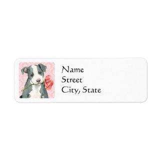 Valentine Rose Pit Bull Return Address Label
