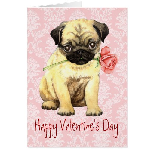 Valentine Rose Pug Card
