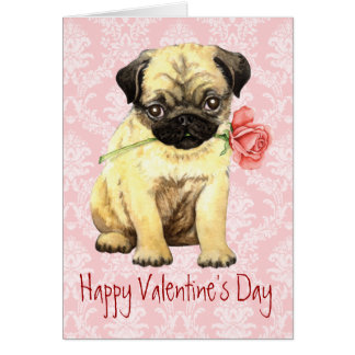 Valentine Rose Pug Greeting Card