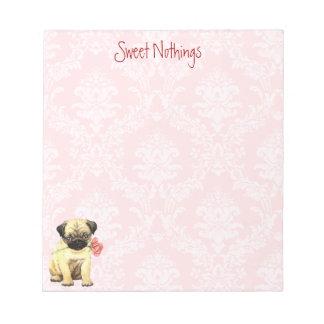 Valentine Rose Pug Notepad
