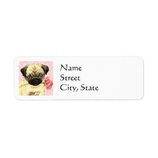 Valentine Rose Pug Return Address Label