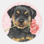 Valentine Rose Rottweiler Round Sticker