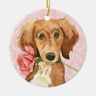 Valentine Rose Saluki Christmas Ornament