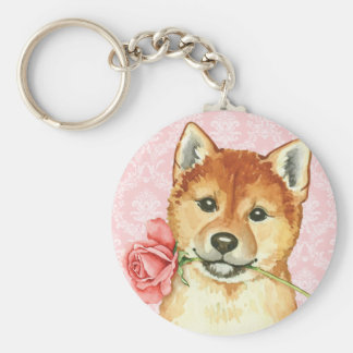 Valentine Rose Shiba Inu Basic Round Button Key Ring