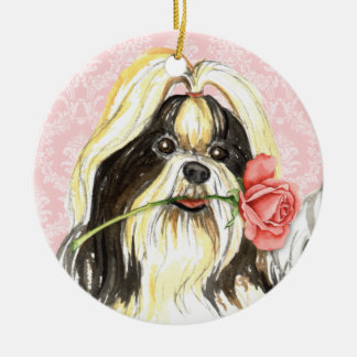 Valentine Rose Shih Tzu Christmas Ornament