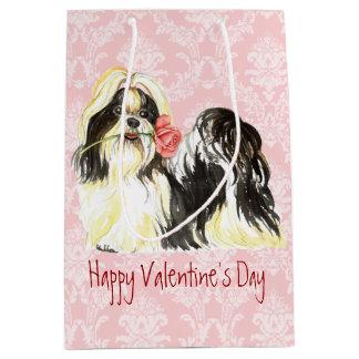 Valentine Rose Shih Tzu Medium Gift Bag