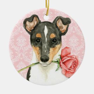Valentine Rose Smooth Collie Christmas Ornament
