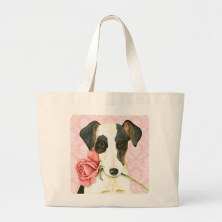Valentine Rose Smooth Fox Terrier Large Tote Bag