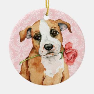 Valentine Rose Stafford Round Ceramic Decoration