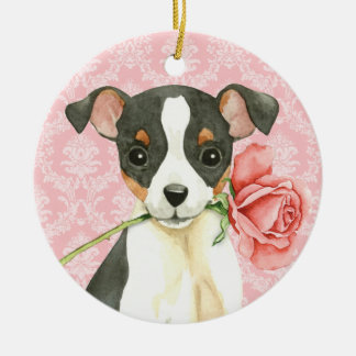 Valentine Rose Toy Fox Terrier Christmas Ornament