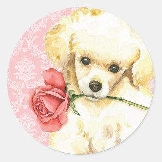 Valentine Rose Toy Poodle Round Sticker