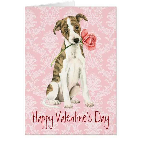 Valentine Rose Whippet Card