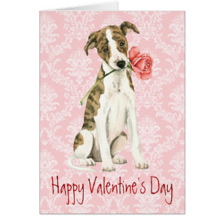 Valentine Rose Whippet Greeting Card
