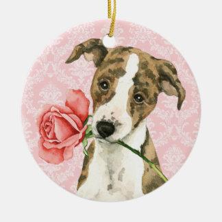 Valentine Rose Whippet Round Ceramic Decoration