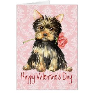 Valentine Rose Yorkie Card