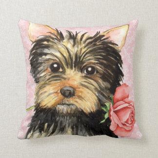 Valentine Rose Yorkie Cushion