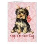 Valentine Rose Yorkie Greeting Card