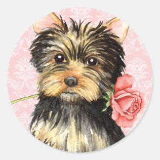Valentine Rose Yorkie Round Sticker