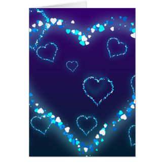 Valentine s Day Gift Blue Bling Heart Love Present Card