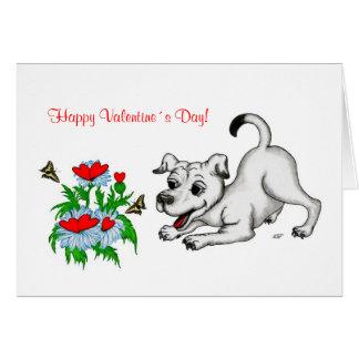 Valentine´s Day, Heart, Flower, Puppy & Butterfly Card