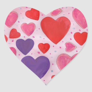 Valentine's Day Hearts in Pink, Purple & Red Heart Sticker