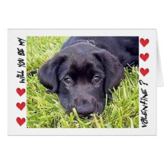 Valentine s Day Labrador puppy Be Mine Card